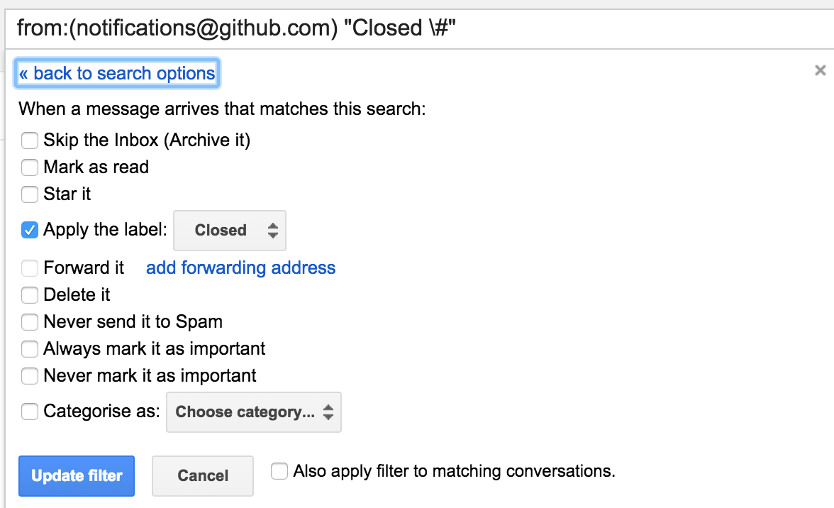 Gmail filter settings